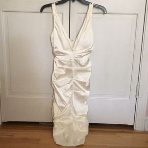 White formal tight fitting dress